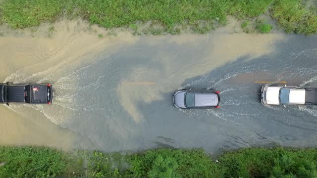 rain, flood, street driving - uragano video stock e b–roll