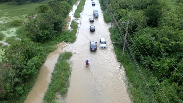 Rain, flood, street driving