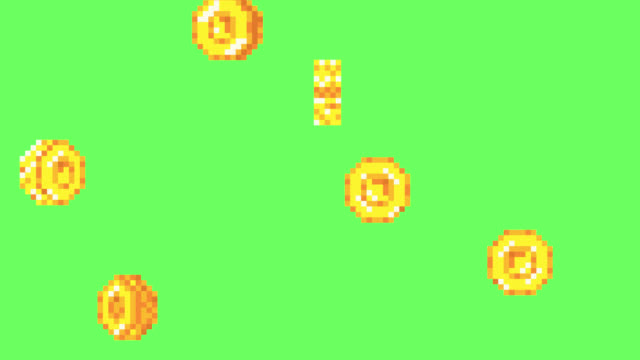 Rain from the golden coins. Alpha channel
