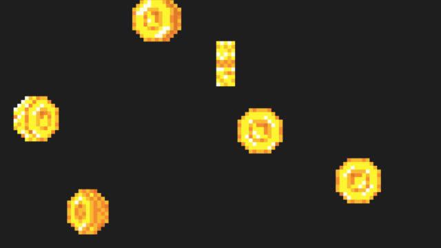 Rain from the golden coins. Pixel art