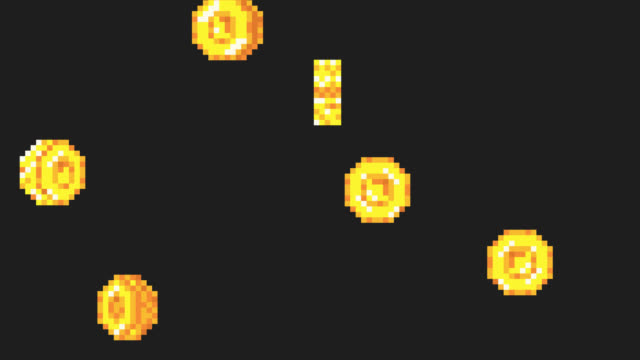 Rain from the golden coins. Pixel art Rain from the golden coins. Pixel art. Retro game style. 4K resolution. coin stock videos & royalty-free footage