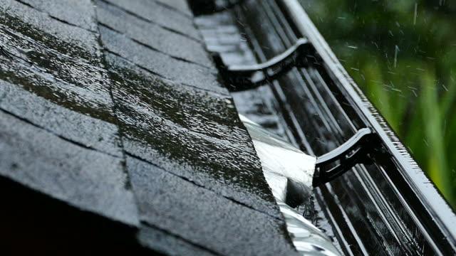 Rain gutter storm roof shingles