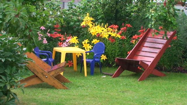 pioggia in giardino - giardino pubblico giardino video stock e b–roll