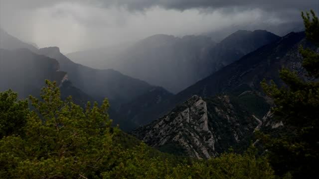 rain near the pedraforca - lleida stok videoları ve detay görüntü çekimi