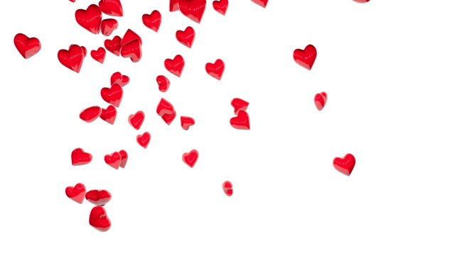 Rain of red hearts over white backgrounds. video