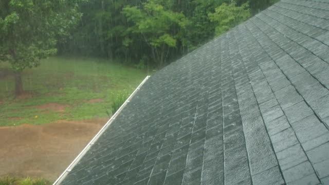 vídeos de stock e filmes b-roll de chuva no telhado - telhado