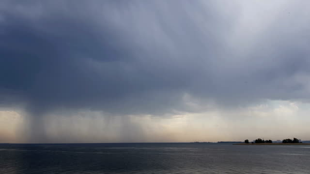 Rain over river. Beautiful thunder clouds over the river video