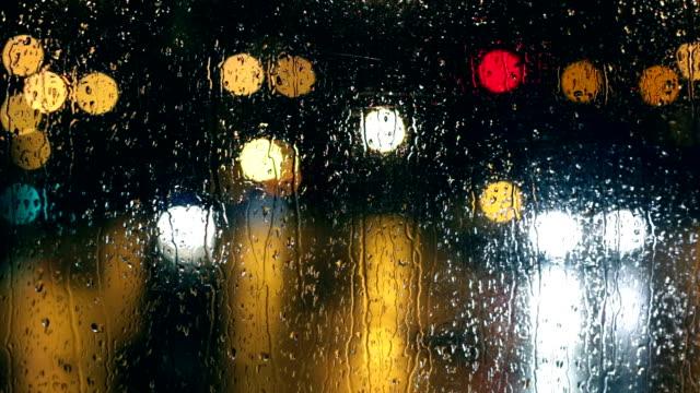 Rain, Passing Cars, Lights, City at Night video