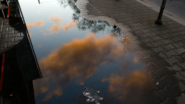 rain puddle reflecting morning clouds and sky - отражение стоковые видео и кадры b-roll
