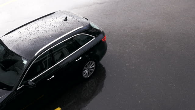 Rain Soaked Car on Asphalt video