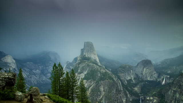 Rain Storm Covering Yosemite Valley - Time Lapse