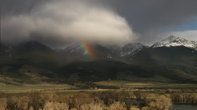 rain storm, Rainbow time lapse in Paradise Valley Montana video