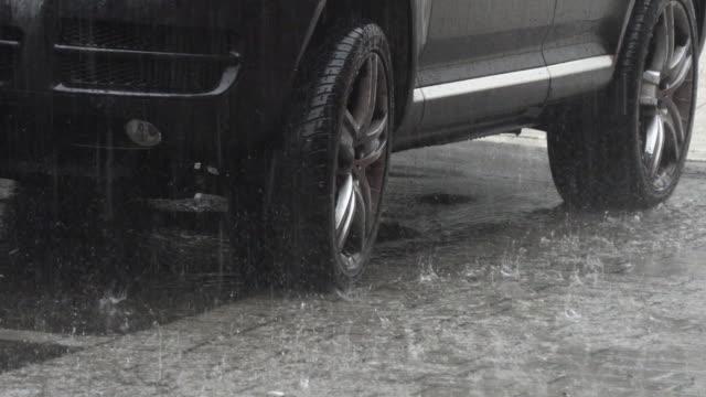rain with hail on the street - grandine video stock e b–roll