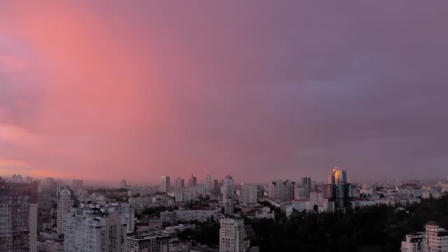 rainbow and amazing pink sky - video
