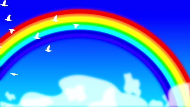 Rainbow and doves loopable background video