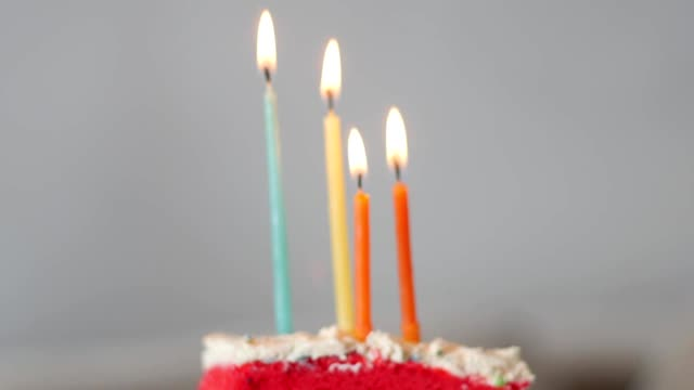 rainbow birthday cake with candles video