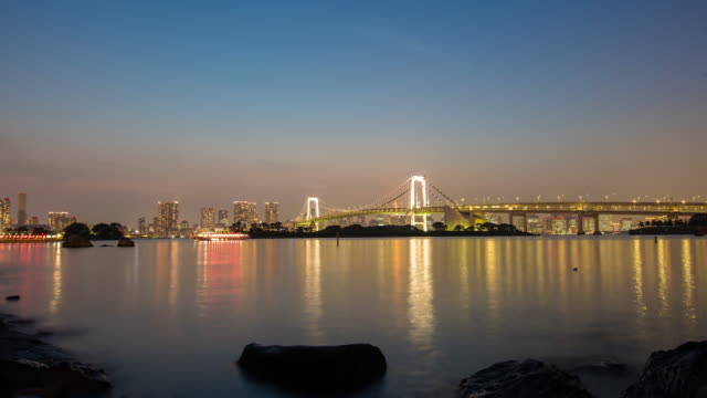 T/L 8K Rainbow bridge in Tokyo at sunset Day To Night Time Lapse shot of the rainbow bridge with Tokyo skyline. Japan. Also available in 8K resolution. sunset to night time lapse stock videos & royalty-free footage