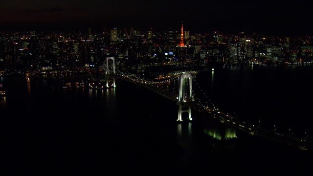 rainbow bridge nattetid - odaiba kaihin koen bildbanksvideor och videomaterial från bakom kulisserna