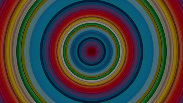 Rainbow color circles with displacement effect and circular motion. Colorful abstract circular illusion patterns, Use it for any presentation projects.4k High Quality. 3D animation, 3D render