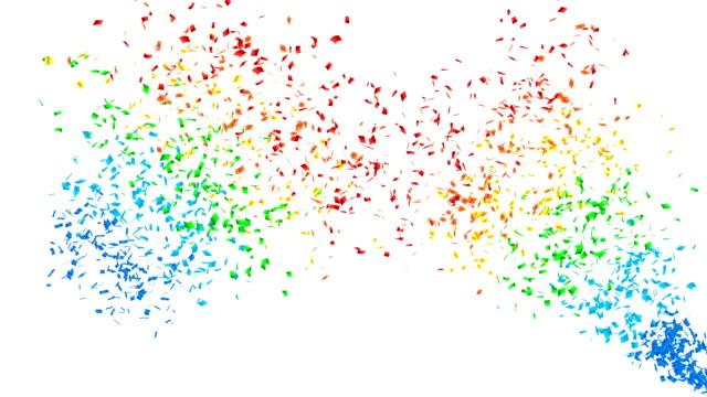 vídeos de stock, filmes e b-roll de explosão de confetes de cor do arco-íris. - fundo branco