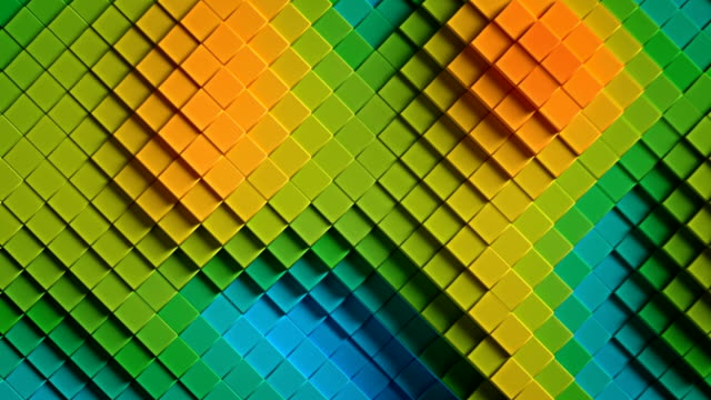 vidéos et rushes de rainbow coloré rhombus 3d rendre l'animation boucle transparente - cube