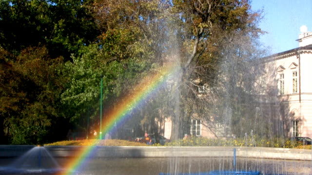 Rainbow effect with fountain in the park video