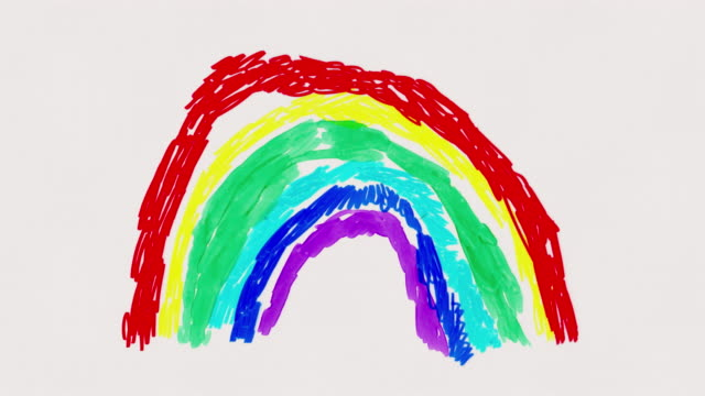 rainbow forming and 'thank you' - animated child's drawing - vivid 4k video stock videos & royalty-free footage