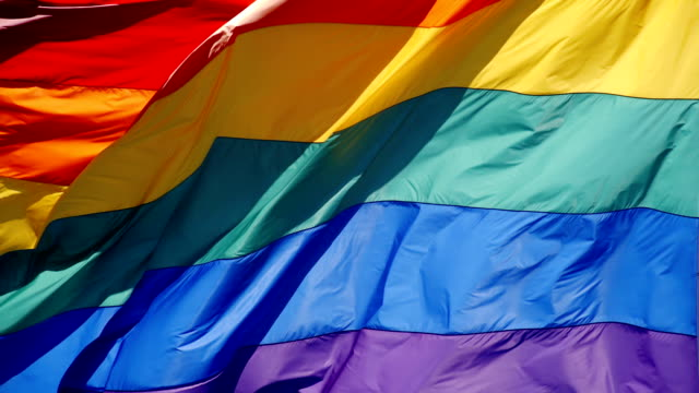 Rainbow Gay Pride Flag Slow motion gay pride flag blowing in the wind. lgbtqi rights stock videos & royalty-free footage
