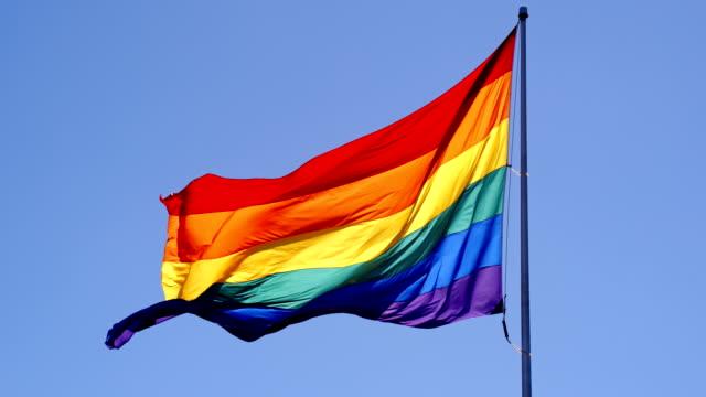 vídeos de stock, filmes e b-roll de bandeira do orgulho gay de arco-íris - flag