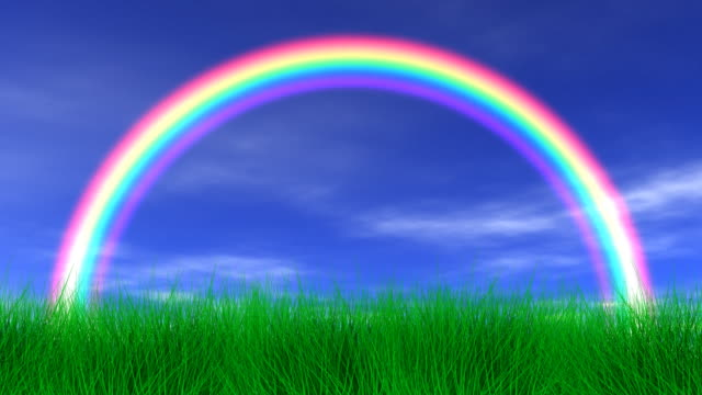 Rainbow, Grass & Peaceful Sky video