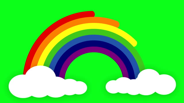 Rainbow Greenscreen Animated rainbow - Rainbow is created as each colour beam emerge from one cloud and ends in a second cloud on a chroma key (green screen) background. rainbow stock videos & royalty-free footage