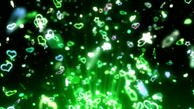 Rainbow Hearts and Stars Spin Motion Background, Loop Animation, video