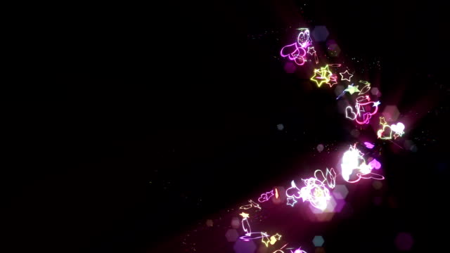 Rainbow Hearts and Stars Spin Motion Background video