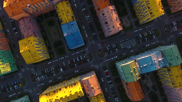 Rainbow houses aerial view Colored rainbow houses in Kiev aerial view concrete architecture stock videos & royalty-free footage