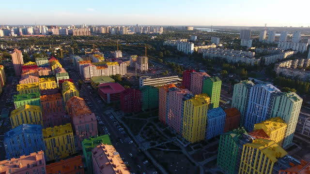 Rainbow houses aerial view video