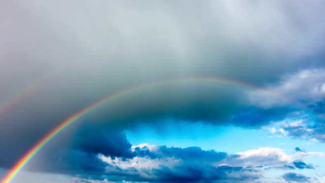 Rainbow in the sky after the rain, time-lapse