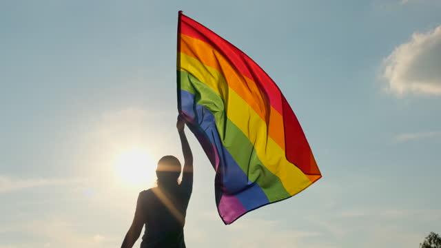 vídeos de stock, filmes e b-roll de bandeira lgbt do arco-íris no céu do pôr do sol. mulher feminina segurando bandeira lgbt do orgulho gay nas mãos - movimentos sociais lésbicas, gays, bissexuais, transgêneros. conceito de liberdade de felicidade ama casal do mesmo sexo. 4 k slow-mo - lgbt