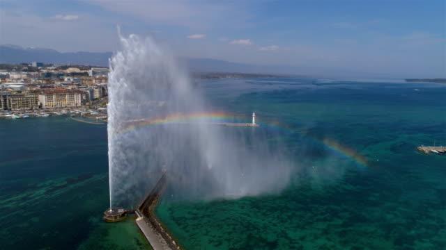 rainbow on geneva water jet - aerial 4k - szwajcaria filmów i materiałów b-roll