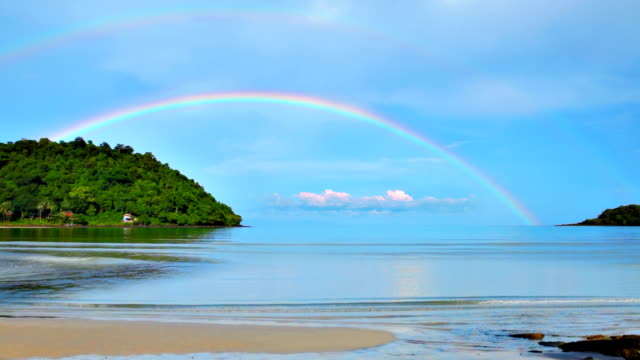 Rainbow over sea video