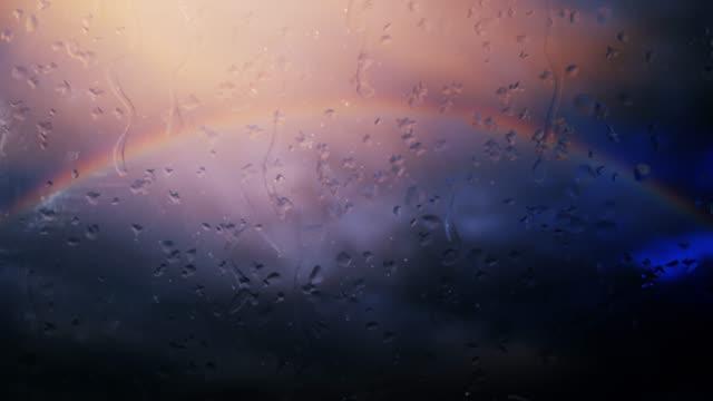 Rainbow shot outside the window in the rain