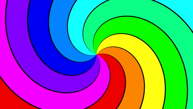 Rainbow spectral swirl rotating quickly anticlockwise, seamless loop video