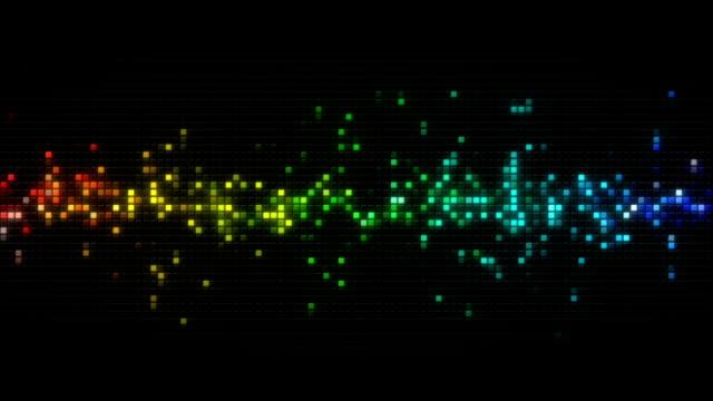 Rainbow spectrum cubes on black tile loopable animation video