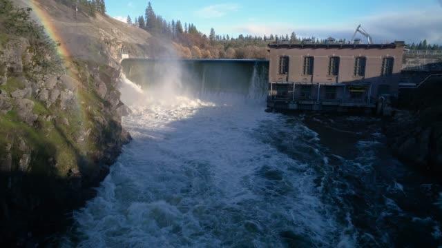Rainbow Waterfall Mist Hydroelectric Dam Aerial