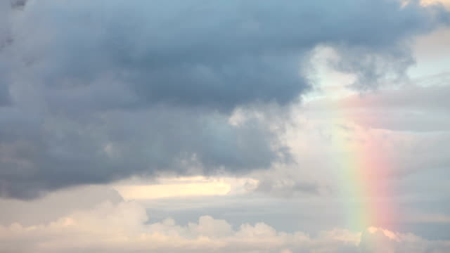 Rainbow with storm clouds video