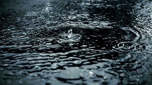 雨と水たまり, スーパー スロー モーションの雨円 - 水面点の映像素材/bロール