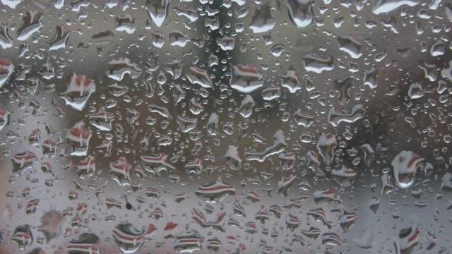 Raindrops in glass video
