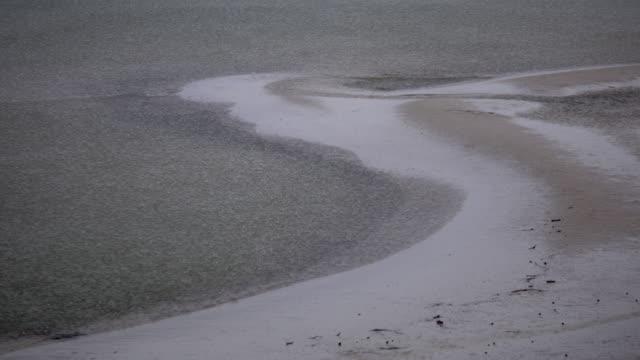 Rainfall on beach (close up) video
