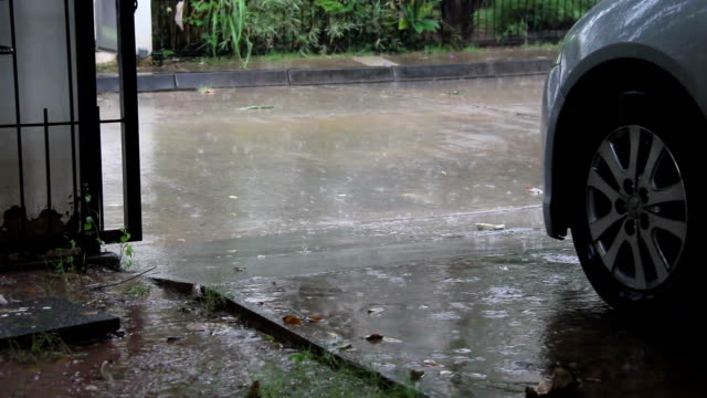 raining drop floor near car video