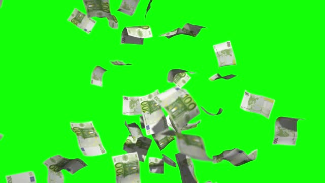 Raining money stock video 100 Euro over green screen chroma key background Raining money stock video 100 Euro over green screen chroma key background european union currency stock videos & royalty-free footage