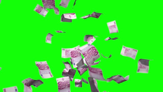 Raining money stock video 500 Euro over green screen chroma key background Raining money stock video 500 Euro over green screen chroma key background european union currency stock videos & royalty-free footage